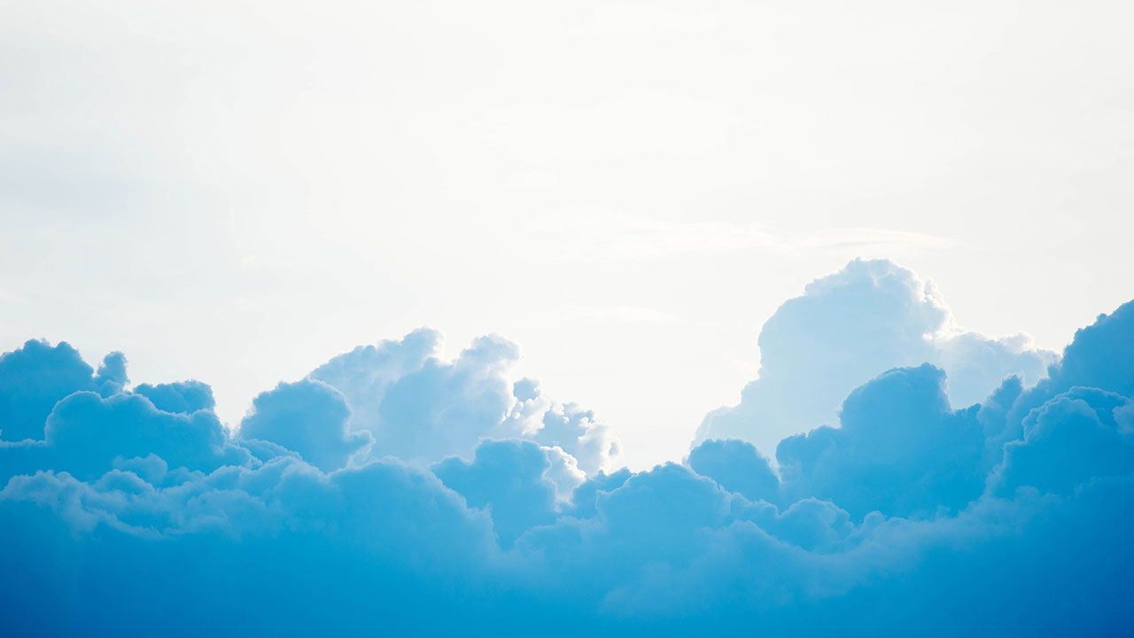 Fluffy blue and white clouds