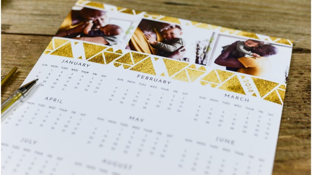 White paper calendar on a table