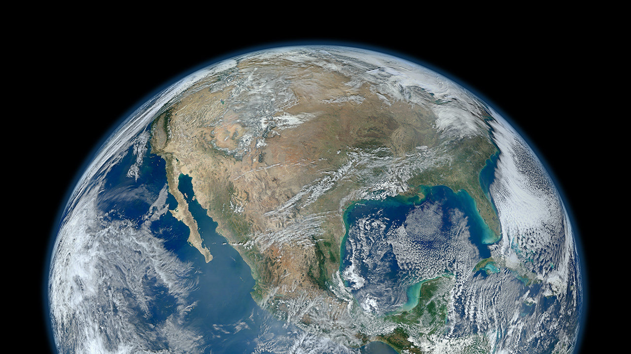 A section of the earth as seen from space