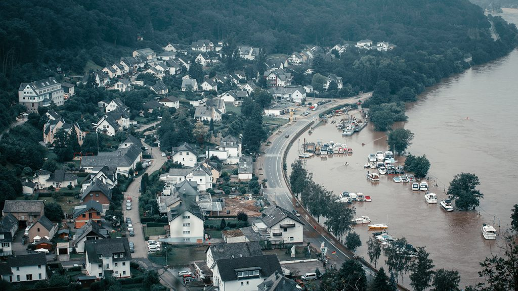 Aerial view of a flooded town in Germany